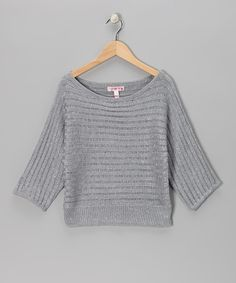 Take a look at this Sugar Tart Silver Chunky Knit Sweater by This Just In: Tween Apparel on #zulily today!