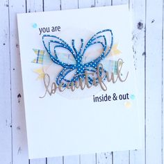 I used the butterfly from the Floral & Flutter Dies and patterned papers from the Pebbles Family Ties 6X6 paper pad to make my card.