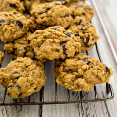 Pumpkin Oatmeal Chocolate Chip Cookies with Dark Chocolate Chips
