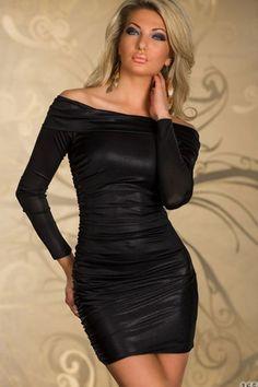 Black Ruched Off-shoulder Sleeves Mini Dress