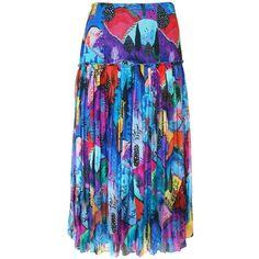 Matthew Williamson Maraval Hills Silk Pleat Skirt ($630) ❤ liked on Polyvore featuring skirts, blue, midi, blue pleated skirt, midi skirt, blue silk skirt, patterned skirts and pleated midi skirt