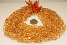 1strand  natural citrine plain oval sized 6 by 8mm by 3yes on Etsy