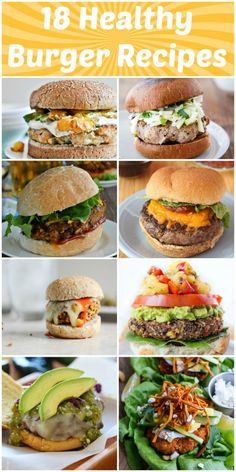 So many great options from turkey , beef, veggie and seafood! 18 Healthy Burger Recipes - Low, Calorie, Low Fat Meals