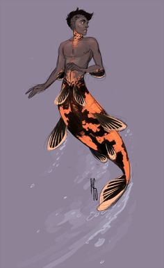 lack-lustin: Lydia and I are working on Koi mermen designs and it's super fun! I sketched this out quick but I'll be refining him. ALSO if anyone is wondering I modeled him after the Utsuri Koi >> this is neat! Mermaid Man, Siren Mermaid, Black Mermaid, Male Mermaid, Mythological Creatures, Mythical Creatures, Sea Creatures, Monster Boy, Homo