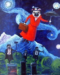 "Pug Dog Art Print / ""Mary Puggins"" / by Original Mike Holzer"