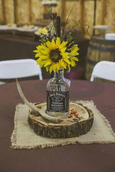 Whiskey Bottle centerpiece   Rustic Wedding Decor