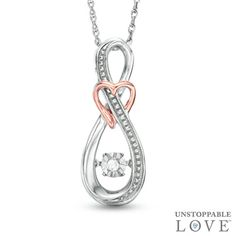 Unstoppable Love™ Diamond Accent Infinity with Heart Pendant in Sterling Silver and 10K Rose Gold - View All Necklaces - Zales