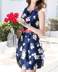 Women's Sleeveless High Waist Floral Pleated Dress!