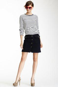 Cotton Wool Contrast Striped Shift Dress by GANT By Michael Bastian on @HauteLook