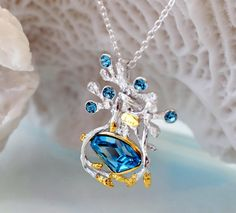 925 Sterling Silver 18KGP Necklace Pendant with by LoveMirror