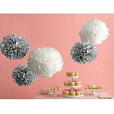 Decor Silver and White Paper Pom Poms