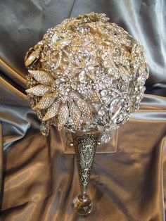 This is the Annemarie brooch bouquet fabricated with strategic brooches to ensure a wonderful contrast and juxtaposition. You can choose the brooches you love to ensure a custom fabricated bouquet you can call your very own. Bling Bouquet, Crystal Bouquet, Wedding Brooch Bouquets, Crystal Brooch, Pearl Bouquet, Fabric Bouquet, Silver Brooch, Bling Bling, Just In Case