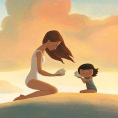 Corey Egbert Illustration: Like A Seashell - Holy Ghost Blanket Beach Illustration, Family Illustration, Mother Daughter Art, Totoro, Holy Ghost, Mothers Love, Cute Art, Art Drawings, Character Design