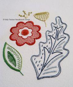 Oakenfold, a Modern Jacobean crewel hand embroidery pattern