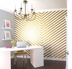 Washi Tape Wall Decor - Gold Home Office Washi Wall from SoShay