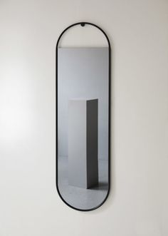 Peek mirror series includes a round and an oval mirror made in two sizes. All Peek mirrors are bordered by a black steel frame that outlines the glass. Metal Mirror, Black Mirror, Fill The Frame, Standing Mirror, Kartell, Wall Fixtures, Glass Material, House Doctor, Round Mirrors