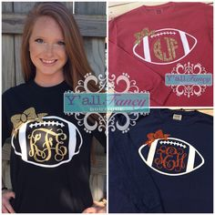 Long Sleeve Glitter Monogrammed Football Comfort Colors Tee - Y'all Fancy by YallFancyBoutique on Etsy https://www.etsy.com/listing/200328860/long-sleeve-glitter-monogrammed-football