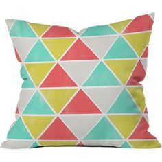 Enliven a neutral sofa or loveseat with this eye-catching pillow, showcasing a multicolor triangle pattern.   Product: Pillow