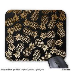 elegant faux gold foil tropical pineapple pattern mouse pad
