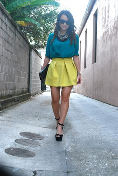 This color blocking outfit is calling for a skinny bright green belt. Color Blocking Outfits, Summer Outfits, Cute Outfits, One Clothing, Her Style, Fashion Forward, Spring Fashion, Green Belt, Style Inspiration