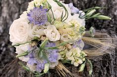 purple and wheat bouquet