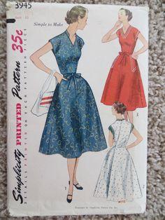 1952 Vintage Wrap Around Dress Pattern Simplicity 3945 Uncut | eBay