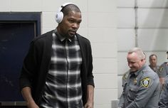 Kevin Durant of the Golden State Warriors arrives at the Chesapeake Energy Arena on February 11 2017 in Oklahoma City Oklahoma before his first NBA...