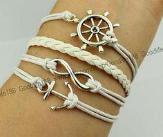 antique silvery anchor bracelet rudder bracelet by Goodlife188, $5.29