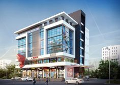 hotel exterior Visualization Of Commercial Space Office Building regarding Modern Commercial Building Exterior Design Office Building Architecture, Retail Architecture, Building Exterior, Building Facade, Commercial Architecture, Building Design, Modern Architecture, Facade Design, Exterior Design