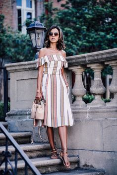 ASOS Off the shoulder stripe sundress | CHLOE Gala small bucket bag | ANCIENT GREEK Chrysso beaded leather sandals | EXPRESS sunglasses | NIALAYA bracelets