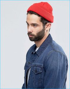 ASOS Men s Red Mini Fisherman Beanie Guys In Beanies ebc82ae4f239