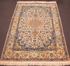 4 x 5 PERSIAN NAIN Hand Knotted Wool Silk IVORY BLUES REDS FINE NEW Oriental Rug #PersianNain #PersianNainFloralMedallion
