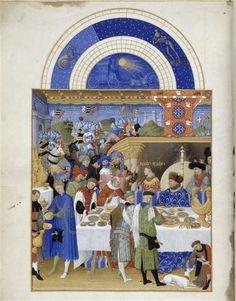 Le mois de Janvier. Jean et Hermann Limbourg. Les Très Riches Heures du duc de Berry (1411-1416) le Calendrier