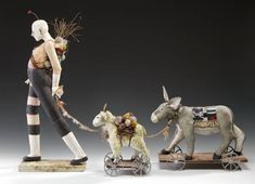 """""""In a body of work there is a common thread of expression and exploration that binds it together. My sculpture addresses our pursuit of T... Mixed Media Sculpture, Sculpture Art, Animal Sculptures, Ceramic Figures, Ceramic Art, Circus Theme, Circus Art, Ceramic Animals, Clay Art"""
