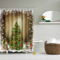 Thicken Merry Christmas Bathroom Waterproof Shower Curtain (COLORMIX,L) in Bathroom Products | DressLily.com