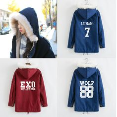 Please leave a message size that you need,thank's! Fabric material:cotton blend Style:korean fashion,cute kawaii,harajuku japanese,exo coat,exo hoodie Color:wine red,blue Pattern:SEHUN 94,KAI 88,TAO 68,BAEK HYUN 4,CHEN 21,WOLF 88,DO 12,LUHAN 7,CHAN YEOL 61,EXO (WE ARE ONE),KRIS 00,SUHO 1,LA...