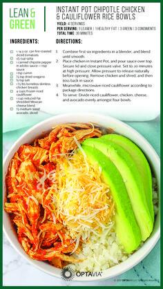 Instant Pot Chipotle Chicken & Cauliflower Rice Bowls