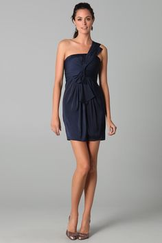 Satin-chiffon Tulip Short Dress With Twisted Draped Bow At The Front