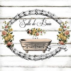 French Vintage Salle De Bain Bath Large A4 Shabby by CreatifBelle