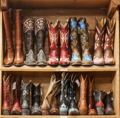 Cowboy boots all lined up in Allens on South Congress. #ACL