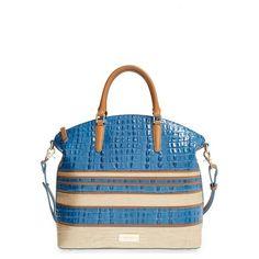 Women's Brahmin 'Large Duxbury' Leather Satchel (€280) ❤ liked on Polyvore featuring bags, handbags, croc embossed leather handbags, leather purses, white purse, brahmin purses and white leather purse