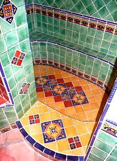 Bathroom using Mexican tiles - http://www.lafuente.com/Tile/Talavera-Tile/