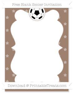 Free Beaver Brown Star Pattern Blank Soccer Invitation
