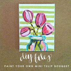 Mini Tulip Bouquet for Beginning Artists #behindthepalette www.evelynhenson.com