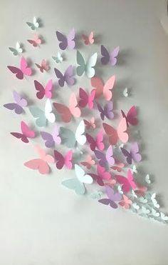 After the origami butterflies here is the butterfly .- Nach den Origami-Schmetterlingen ist hier die Schmetterlingswolke für unsere kleinen Experime… After the origami butterflies, here is the butterfly cloud for our little experiments …, - Origami Butterfly, Butterfly Party, Butterfly Wall Art, Paper Butterflies, Paper Flowers, Butterfly Mobile, Paper Butterfly Crafts, Art Mural 3d, 3d Wall Art