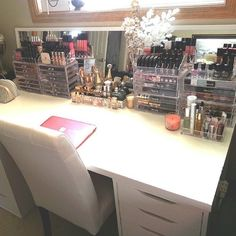 "If you want a ""desk"" like this buy a basic white table top from Ikea, like the Linnmon one then buy two Alex 5 drawer units to place underneath. Super affordable and looks really nice for makeup storage"