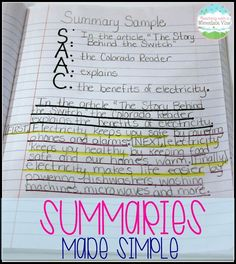 Year after year my students struggled with summaries, and then I started using this method for teaching summary writing.  Eureka!   I will never again teach this skill without this summary anchor chart.