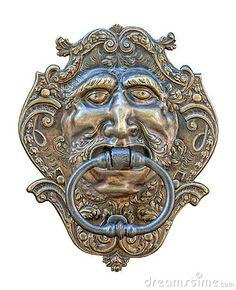 * Aldrava de Porta medieval. Entalhe de Bronze de cabeça humana. *                                                                                                                                                                                 Mais