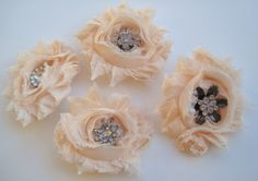 Hair Clip  Set of 4 Pale Peach Shabby Rose by thesweetestmemory, $23.00