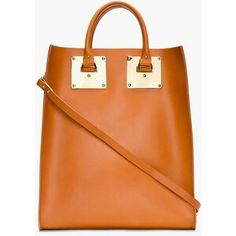 COGNAC STRUCTURED LEATHER TOTE BAG by Sophie hulme. I tried this but it is really heavy before I put anything inside